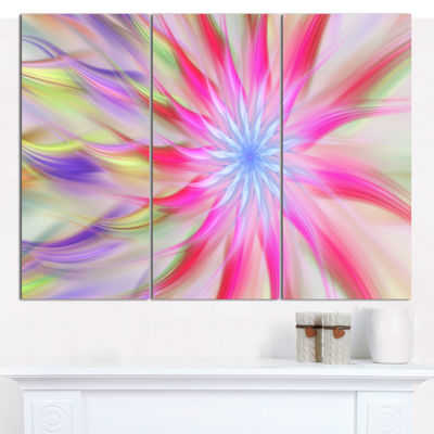 Designart Dance Of Pink Exotic Flower Floral Canvas Art Print - 3 Panels
