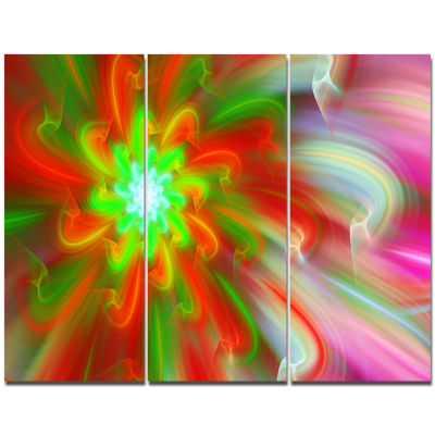 Designart Dance Of Red Fractal Flower Petals Floral Canvas Art Print - 3 Panels