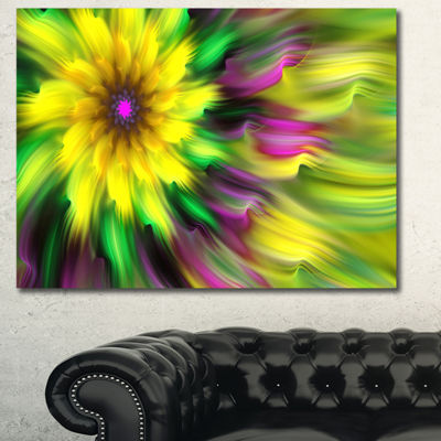 Designart Dance Of Yellow Exotic Flower Floral Canvas Art Print - 3 Panels