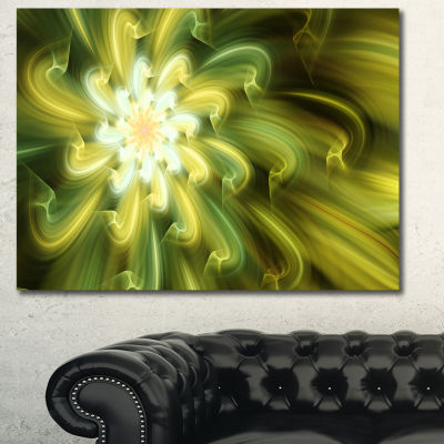 Designart Dance Of Yellow Fractal Petals Floral Canvas Art Print