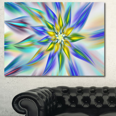 Designart Dancing Blue Fractal Flower Floral Canvas Art Print - 3 Panels