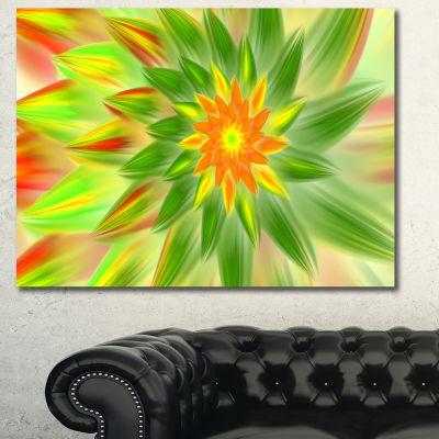 Designart Dancing Green Fractal Flower Floral Canvas Art Print - 3 Panels