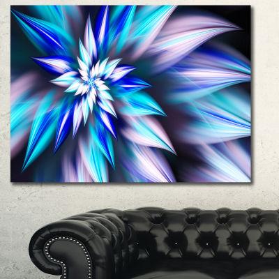 Designart Dancing Light Blue Flower Petals FloralCanvas Art Print