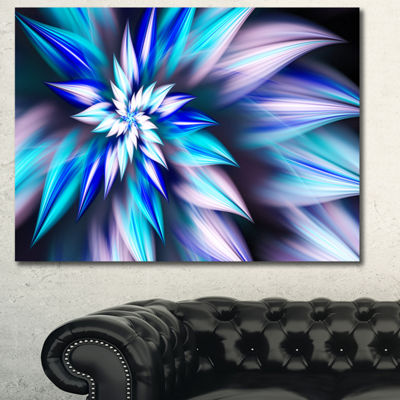 Designart Dancing Light Blue Flower Petals FloralCanvas Art Print - 3 Panels