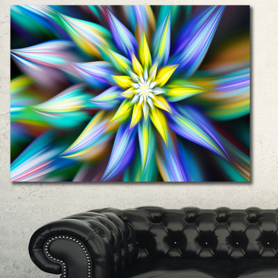Designart Dancing Multi Color Flower Petals FloralCanvas Art Print - 3 Panels
