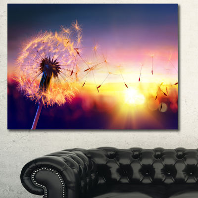 Designart Dandelion At Sunset Freedom To Wish Abstract Wall Art Canvas