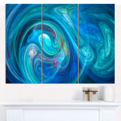 Designart Dark Blue Fractal Abstract Texture Abstract Canvas Wall Art - 3 Panels
