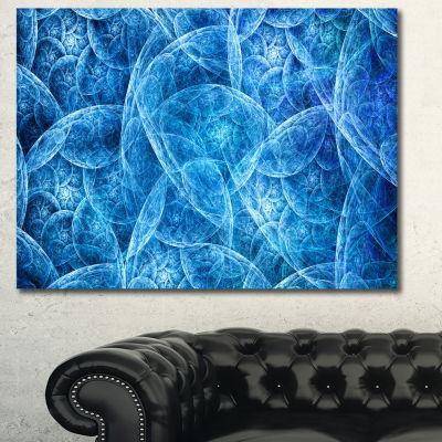 Designart Dark Blue Fractal Dramatic Clouds Abstract Canvas Art Print - 3 Panels