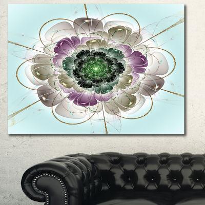 Designart Dark Blue Fractal Flower Pattern Abstract Wall Art Canvas - 3 Panels