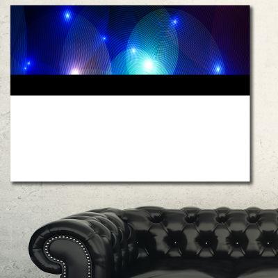 Designart Dark Blue Fractal Lights In Fog AbstractWall Art Canvas