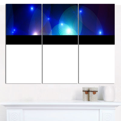 Designart Dark Blue Fractal Lights In Fog AbstractWall Art Canvas - 3 Panels