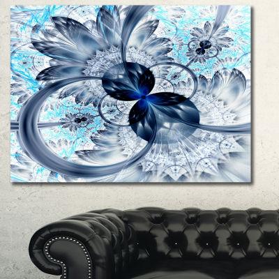 Designart Dark Blue Purple Fractal Flower AbstractCanvas Art Print