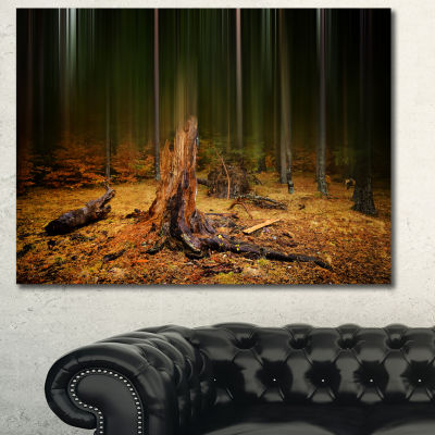 Designart Dark Fall Forest On Foggy Morning Landscape Canvas Art Print