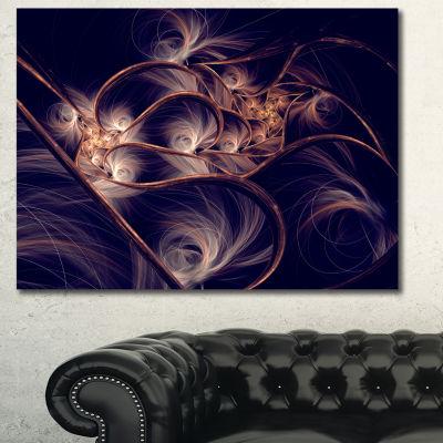 Designart Dark Gold Fractal Flower Pattern Abstract Canvas Art Print