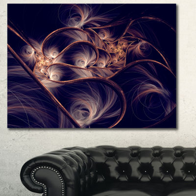 Designart Dark Gold Fractal Flower Pattern Abstract Canvas Art Print - 3 Panels