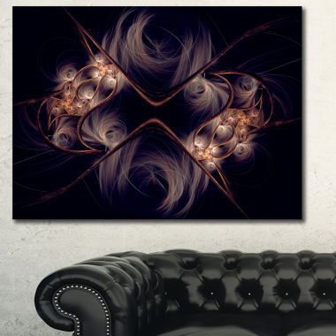 Designart Dark Gold Fractal Flower Pattern Abstract Wall Art Canvas