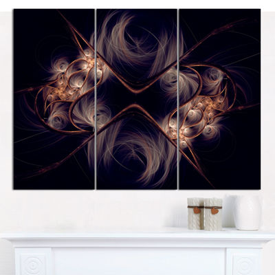 Designart Dark Gold Fractal Flower Pattern Abstract Wall Art Canvas - 3 Panels
