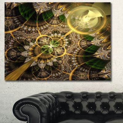 Designart Dark Green And Gold Fractal Flower Floral Canvas Art Print - 3 Panels