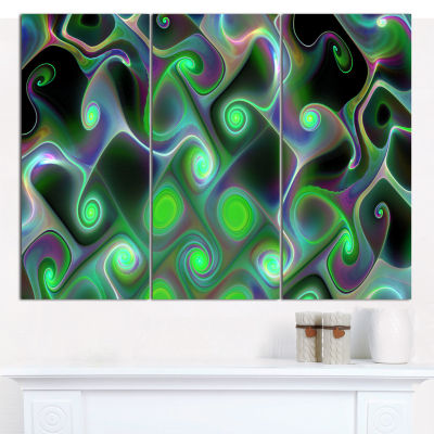 Designart Dark Green Fractal Swirls Abstract WallArt Canvas - 3 Panels