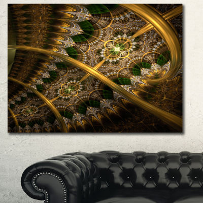 Designart Dark Green Gold Fractal Flower AbstractWall Art Canvas