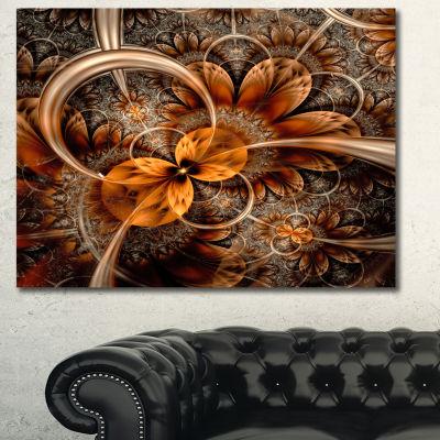 Designart Dark Orange Fractal Flower Abstract Canvas Art Print