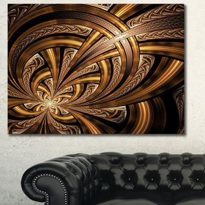 Designart Dark Orange Fractal Flower Abstract WallArt Canvas - 3 Panels