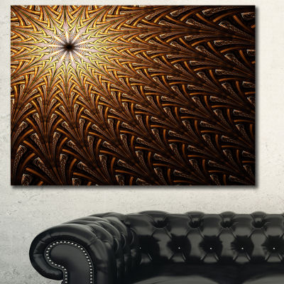 Designart Dark Orange Fractal Flower Pattern Abstract Wall Art Canvas - 3 Panels