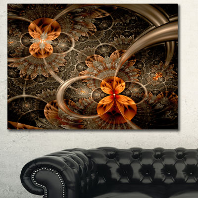 Designart Dark Orange Symmetrical Flower AbstractWall Art Canvas