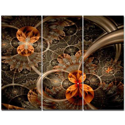 Designart Dark Orange Symmetrical Flower AbstractWall Art Canvas - 3 Panels