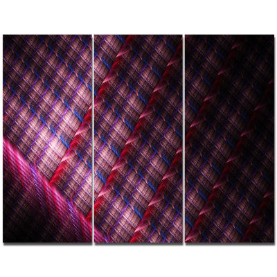 Designart Dark Pink Abstract Metal Grill AbstractArt On Canvas - 3 Panels