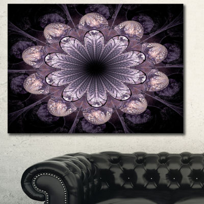 Designart Dark Pink Fractal Flower Pattern Abstract Canvas Art Print - 3 Panels