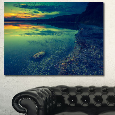 Designart Dark Vintage Lake At Sunset Boat CanvasArt Print