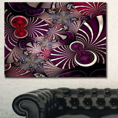 Designart Dark Violet Fractal Flower Abstract WallArt Canvas