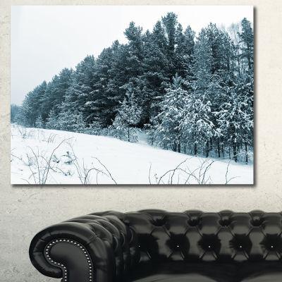 Designart Dark Winter Trees Landscape Canvas Art Print