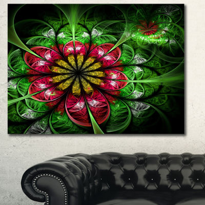 Designart Dark Yellow And Green Flower Abstract Wall Art Canvas