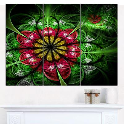Designart Dark Yellow And Green Flower Abstract Wall Art Canvas - 3 Panels