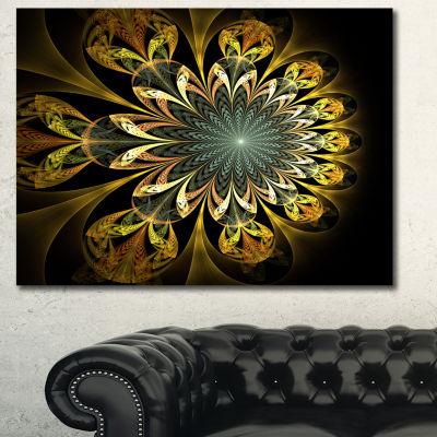 Designart Dark Yellow Digital Flower Abstract WallArt Canvas