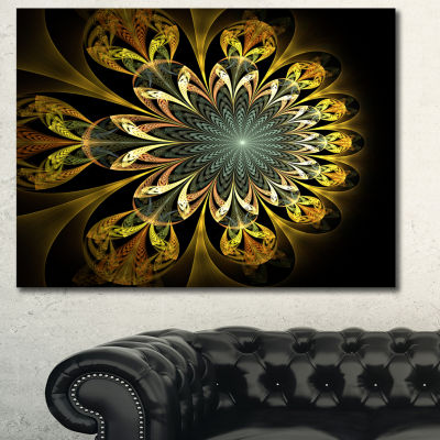 Designart Dark Yellow Digital Flower Abstract WallArt Canvas - 3 Panels