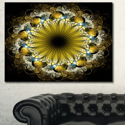 Designart Dark Yellow Fractal Flower Abstract Canvas Art Print - 3 Panels