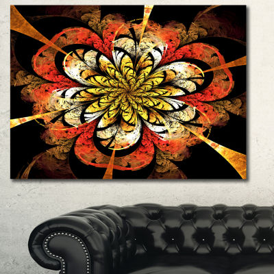 Designart Dark Yellow Orange Fractal Flower Abstract Wall Art Canvas