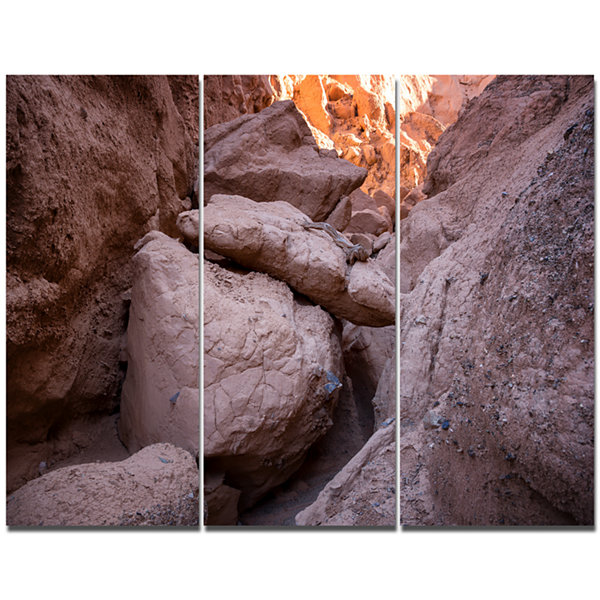 Designart Desert Mountains In Kazakhstan LandscapeCanvas Art Print - 3 Panels