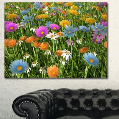 Designart Different Color Flowers In Field FloralCanvas Art Print
