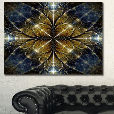 Designart Digital Gold Fractal Flower Pattern Abstract Wall Art Canvas - 3 Panels