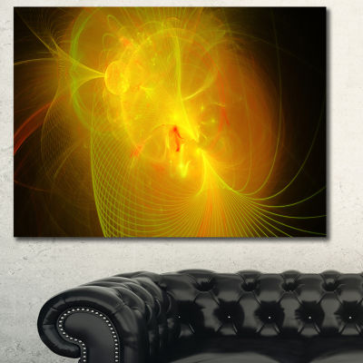Designart Distant Golden Space Nebula Floral Canvas Art Print - 3 Panels