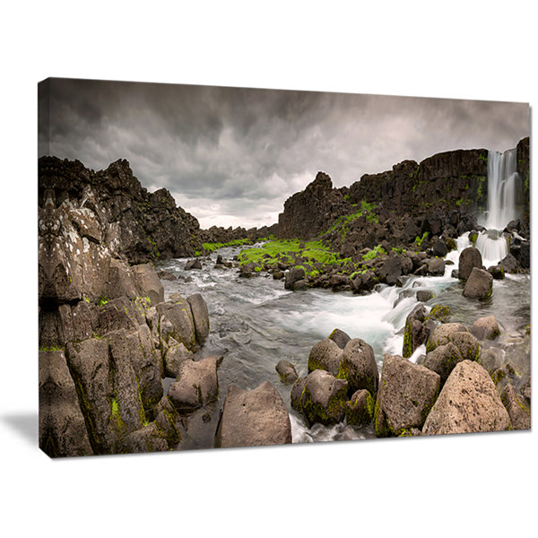 Designart Dramatic Oxarafoss Waterfalls Abstract Art On Canvas