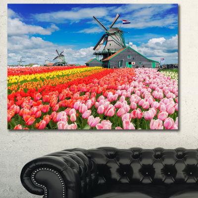 Designart Dutch Windmills And Garden Abstract Canvas Wall Art - 3 Panels
