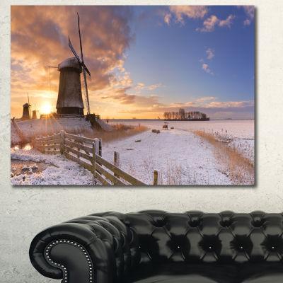 Designart Dutch Windmills At Sunrise Abstract Canvas Art Print - 3 Panels