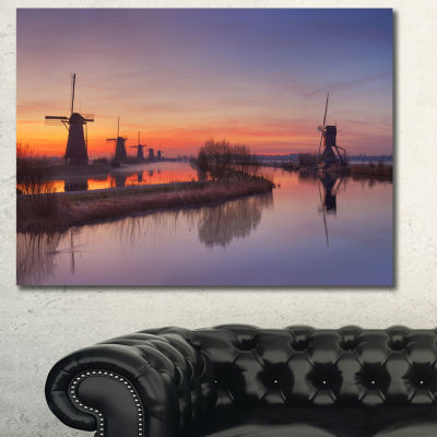 Designart Dutch Windmills Panorama Abstract CanvasArt Print - 3 Panels