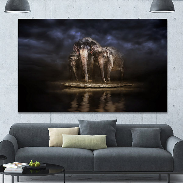 Designart Elephants Watering In The River Animal Canvas Wall Art
