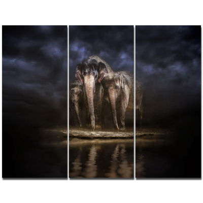 Designart Elephants Watering In The River Animal Canvas Wall Art - 3 Panels